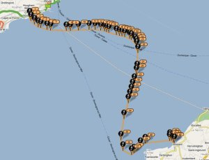 Mike's route swimming the English Channel