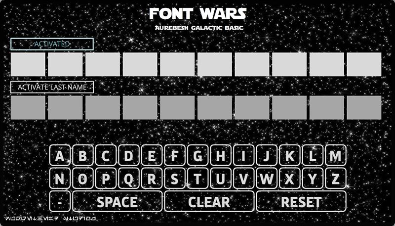 Your Name in Star Wars Aurebesh built in Storyline