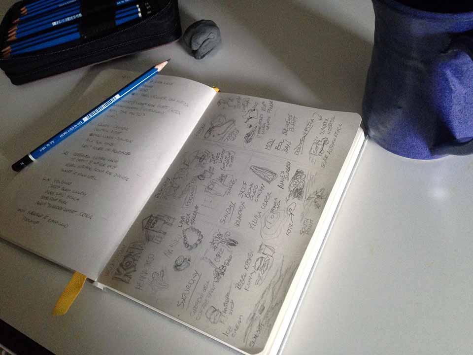 Hawaii Vacation sketchbook graphic
