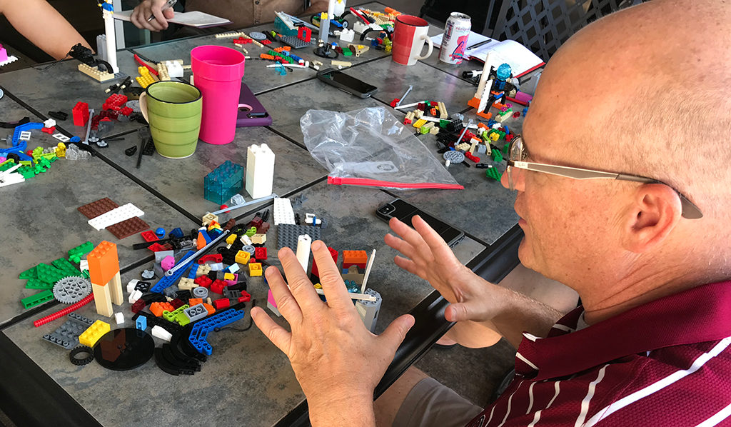 Karl Kapp describing the problem through LEGO Serious Play storytelling
